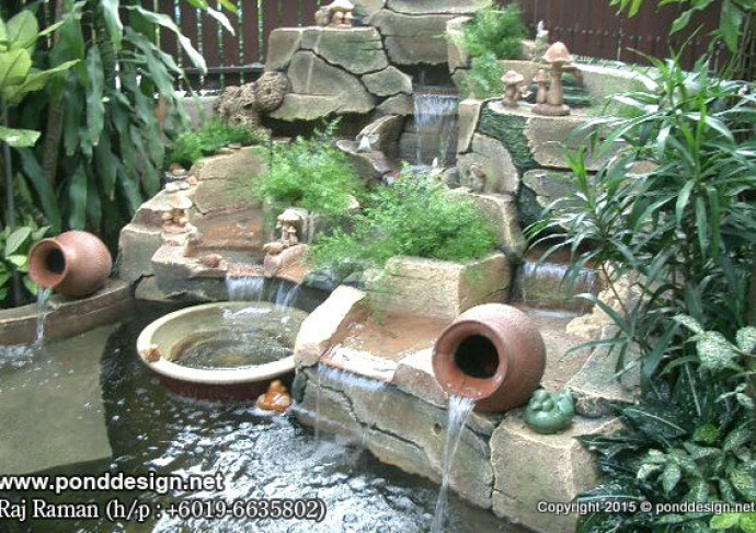 Water feature with artificial rock fountain design trading for Artificial water pond