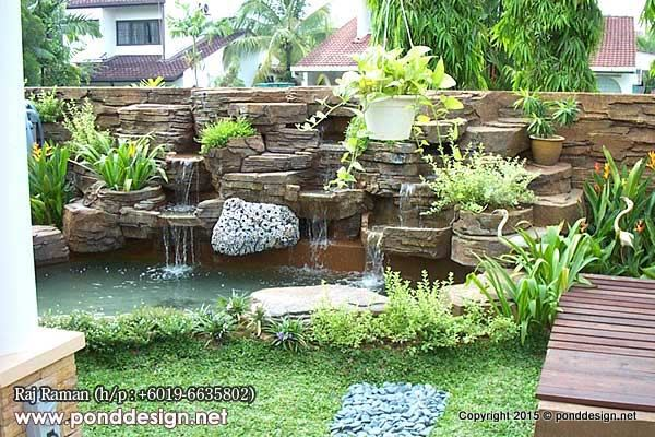 Artificial waterfall made of stone for fish pond for Artificial koi fish for ponds