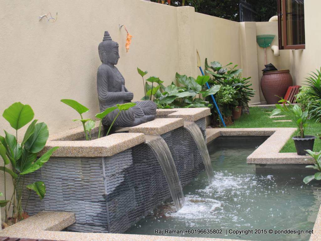 Fountain design trading tropic garden stones sdn bhd for Small pond house plans